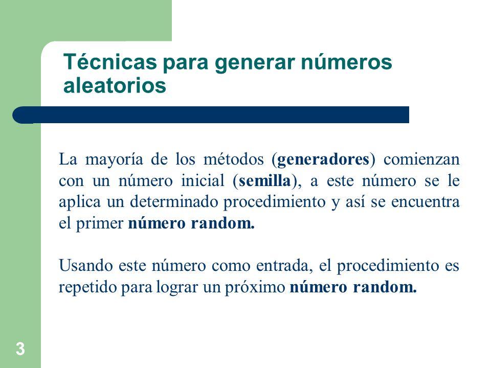 34 Ejercicio 4 Generador: x n+1 = (5 7 x n ) mod 2 15 – 1 Con semilla = 1, considere los primeros 100 números generados entre 0 y 1.