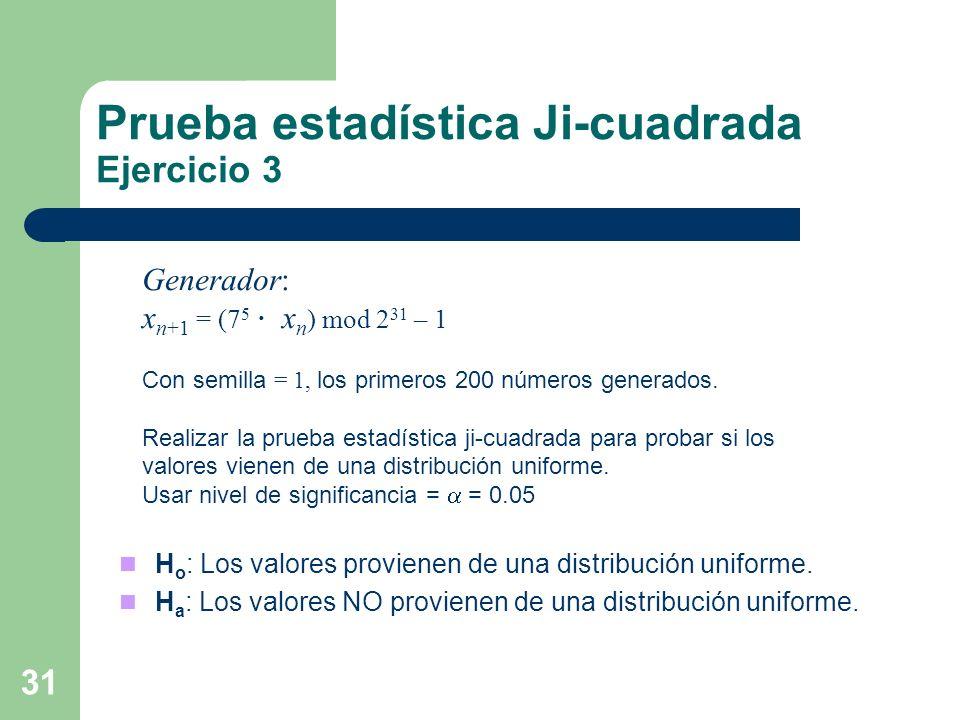 Prueba estadística Ji-cuadrada Ejercicio 3 31 Generador: x n+1 = (7 5 x n ) mod 2 31 – 1 Con semilla = 1, los primeros 200 números generados. Realizar