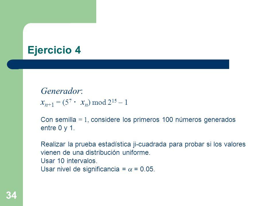 34 Ejercicio 4 Generador: x n+1 = (5 7 x n ) mod 2 15 – 1 Con semilla = 1, considere los primeros 100 números generados entre 0 y 1. Realizar la prueb