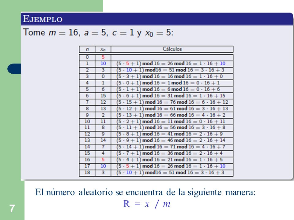 7 El número aleatorio se encuentra de la siguiente manera: R = x / m
