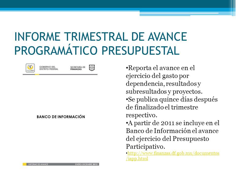 INFORME TRIMESTRAL DE AVANCE PROGRAMÁTICO PRESUPUESTAL Reporta el avance en el ejercicio del gasto por dependencia, resultados y subresultados y proye
