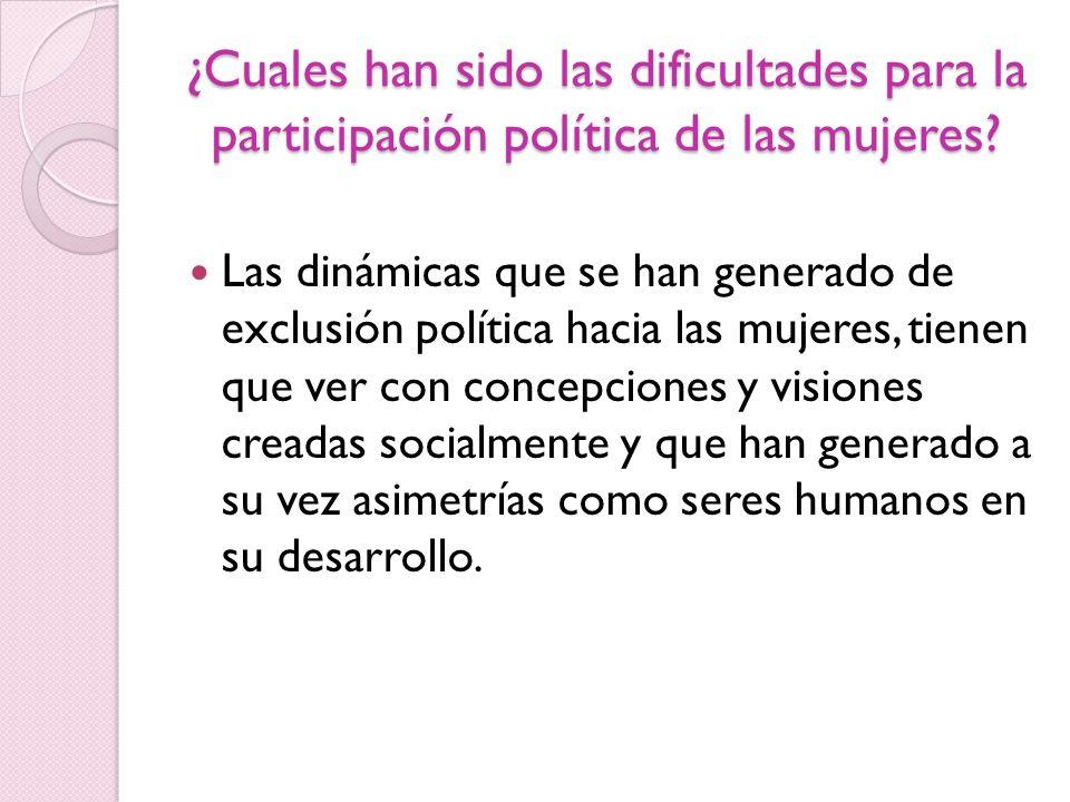 ¿Cuales han sido las dificultades para la participación política de las mujeres? Las dinámicas que se han generado de exclusión política hacia las muj