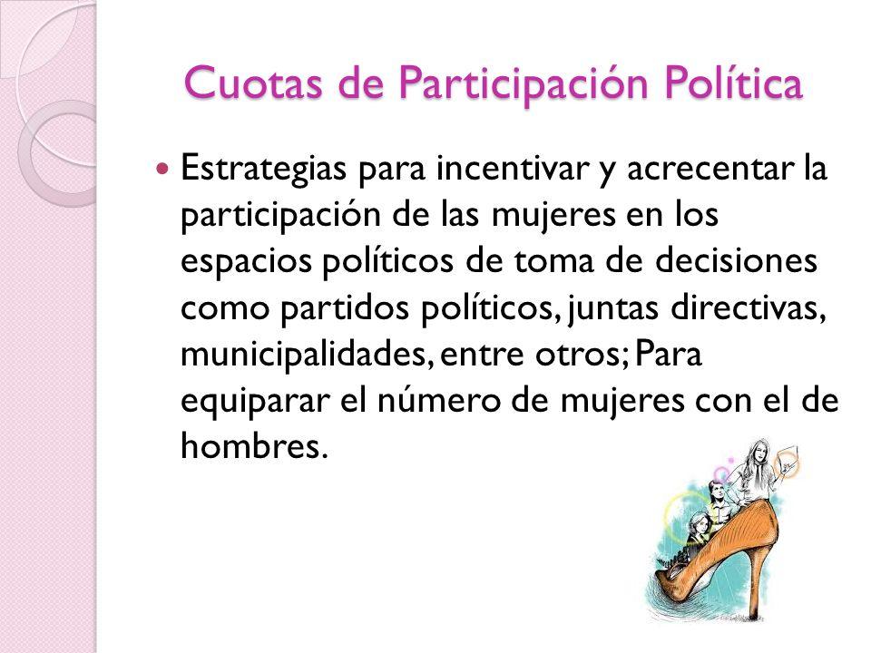 Cuotas de Participación Política Estrategias para incentivar y acrecentar la participación de las mujeres en los espacios políticos de toma de decisio