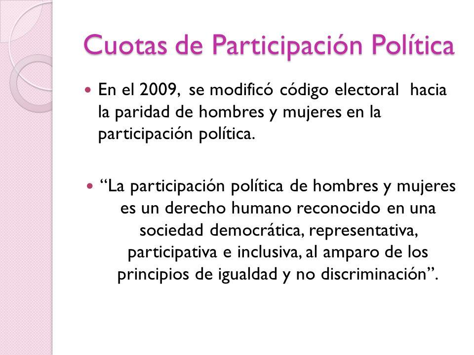 Cuotas de Participación Política En el 2009, se modificó código electoral hacia la paridad de hombres y mujeres en la participación política. La parti