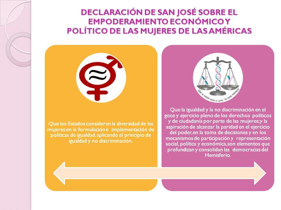 DECLARACIÓN DE SAN JOSÉ SOBRE EL EMPODERAMIENTO ECONÓMICO Y POLÍTICO DE LAS MUJERES DE LAS AMÉRICAS Que los Estados consideran la diversidad de las mu
