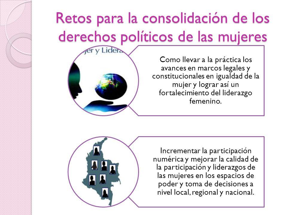 Retos para la consolidación de los derechos políticos de las mujeres Como llevar a la práctica los avances en marcos legales y constitucionales en igu