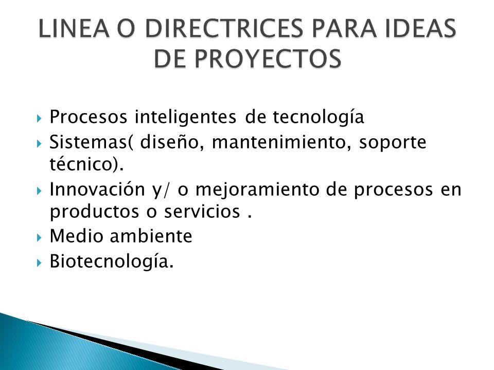 Procesos inteligentes de tecnología Sistemas( diseño, mantenimiento, soporte técnico). Innovación y/ o mejoramiento de procesos en productos o servici