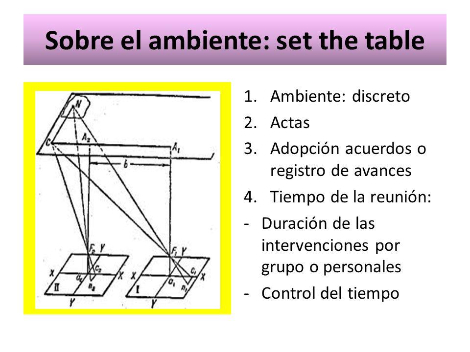Sobre el ambiente: set the table 1.Ambiente: discreto 2.Actas 3.Adopción acuerdos o registro de avances 4.Tiempo de la reunión: -Duración de las inter