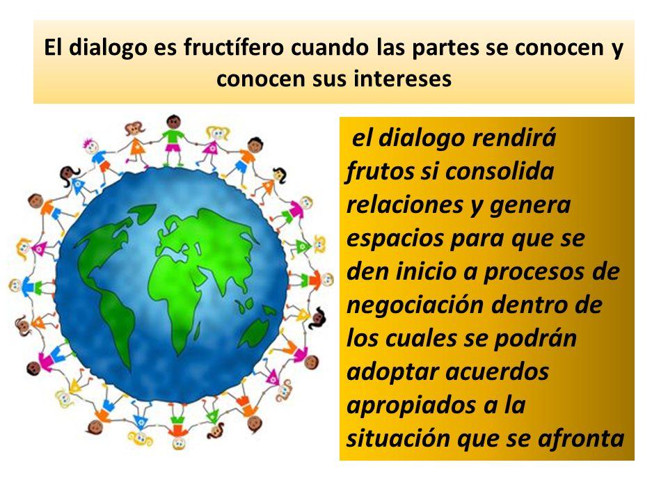 El dialogo es fructífero cuando las partes se conocen y conocen sus intereses el dialogo rendirá frutos si consolida relaciones y genera espacios para