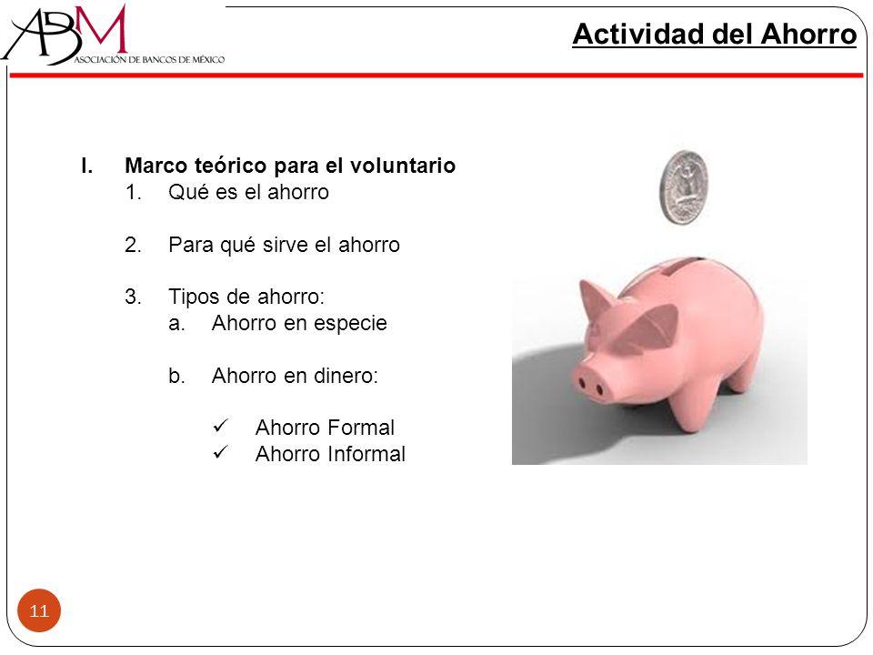 11 Actividad del Ahorro I.Marco teórico para el voluntario 1.Qué es el ahorro 2.Para qué sirve el ahorro 3.Tipos de ahorro: a.Ahorro en especie b.Ahor
