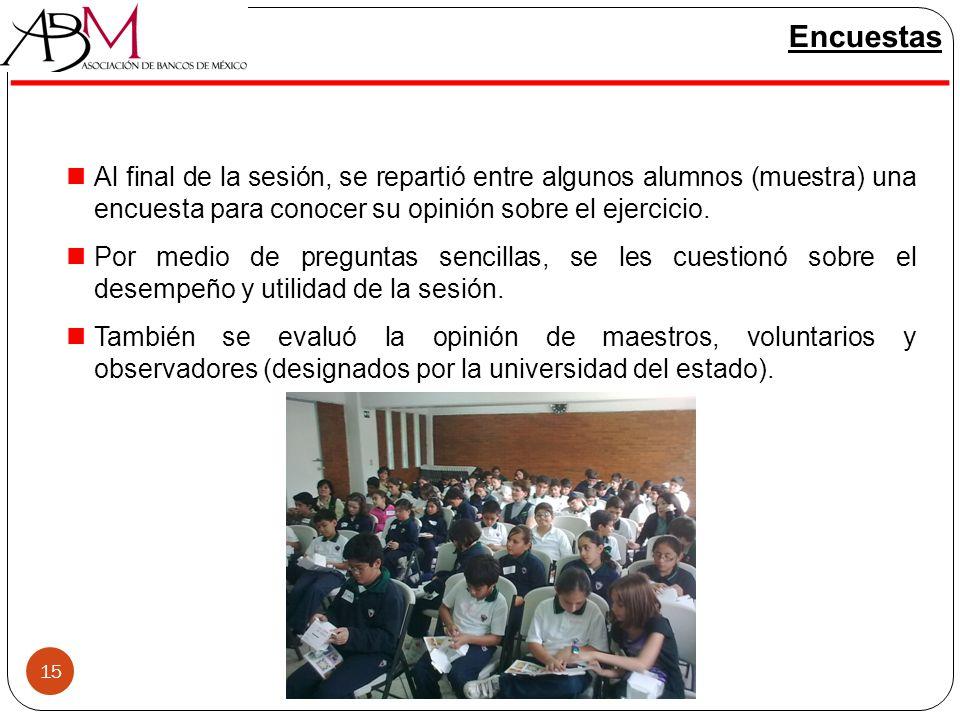 15 Encuestas Al final de la sesión, se repartió entre algunos alumnos (muestra) una encuesta para conocer su opinión sobre el ejercicio. Por medio de