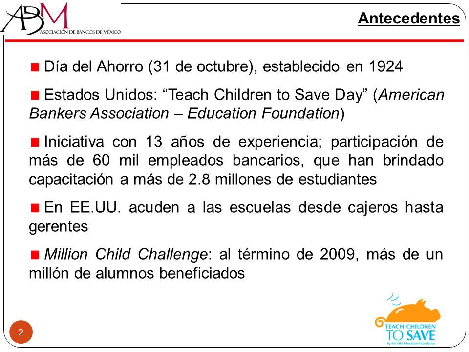 El año pasado el Día del Ahorro Infantil se realizó el 17 de noviembre nuevamente en la ciudad de Querétaro y además, por primera ocasión, en la ciudad de Colima Se sumaron 5 instituciones al proyecto Amplia participación de los miembros del Comité de Educación Financiera de la ABM Experiencia de éxito en materia de coordinación sector privado y sector público 33 DAI 2011: un proyecto en crecimiento DAI 2011EscuelasSalonesAlumnosVoluntarios Instituciones (Bancos y ABM) Querétaro 1542529,60025517 Colima 851142,70012014
