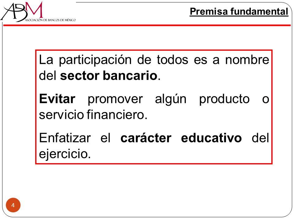 4 Premisa fundamental La participación de todos es a nombre del sector bancario. Evitar promover algún producto o servicio financiero. Enfatizar el ca