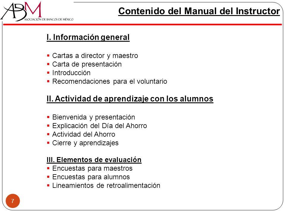 7 Contenido del Manual del Instructor I. Información general Cartas a director y maestro Carta de presentación Introducción Recomendaciones para el vo