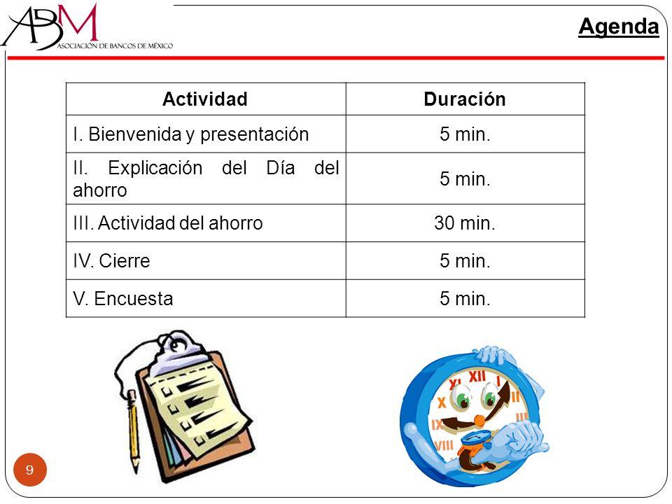 9 Agenda ActividadDuración I. Bienvenida y presentación5 min. II. Explicación del Día del ahorro 5 min. III. Actividad del ahorro30 min. IV. Cierre5 m