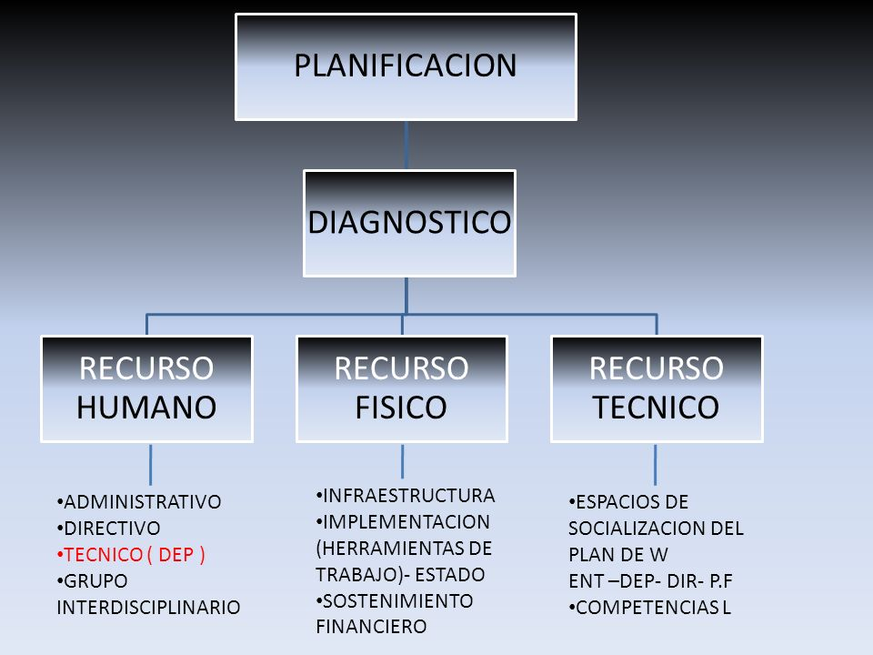 PLANIFICACION RECURSO HUMANO RECURSO FISICO RECURSO TECNICO DIAGNOSTICO ADMINISTRATIVO DIRECTIVO TECNICO ( DEP ) GRUPO INTERDISCIPLINARIO INFRAESTRUCT