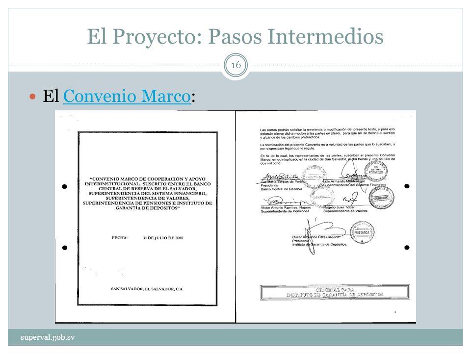 El Proyecto: Pasos Intermedios El Convenio Marco:Convenio Marco superval.gob.sv 16