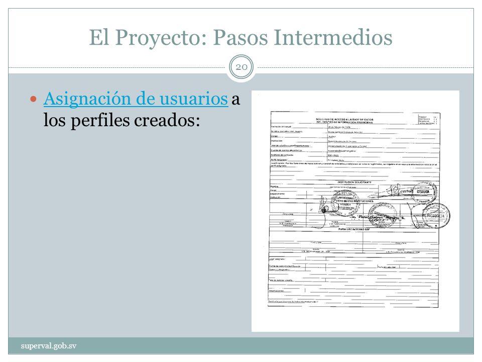 El Proyecto: Pasos Intermedios Asignación de usuarios a los perfiles creados: Asignación de usuarios superval.gob.sv 20