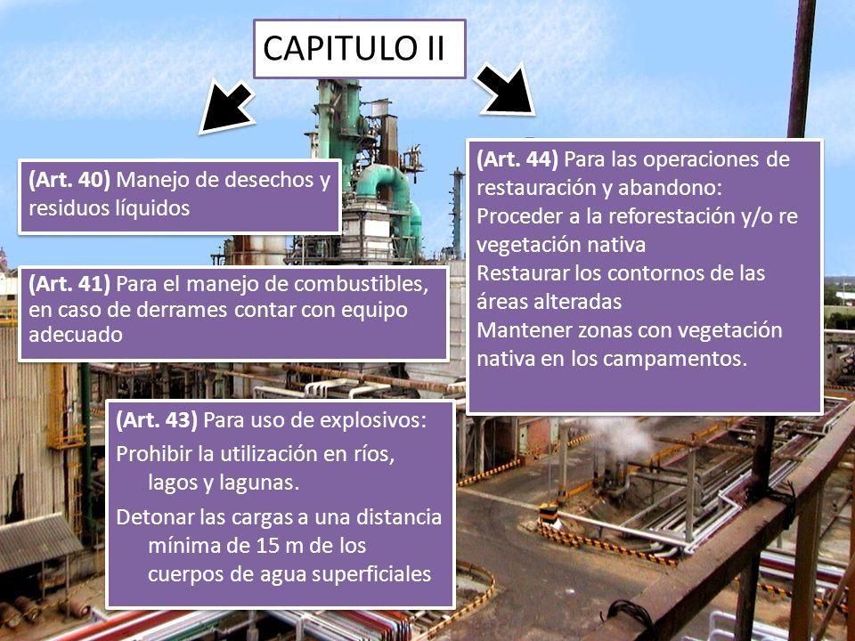 CAPITULO II (Art. 44) Para las operaciones de restauración y abandono: Proceder a la reforestación y/o re vegetación nativa Restaurar los contornos de