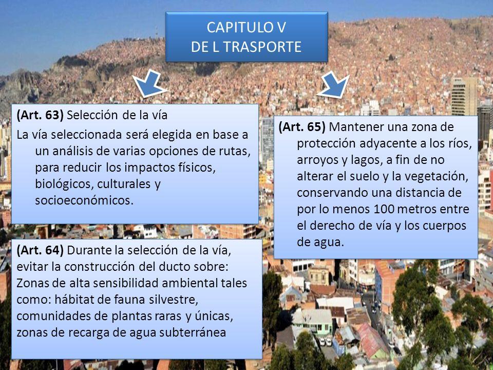 CAPITULO V DE L TRASPORTE (Art. 63) Selección de la vía La vía seleccionada será elegida en base a un análisis de varias opciones de rutas, para reduc