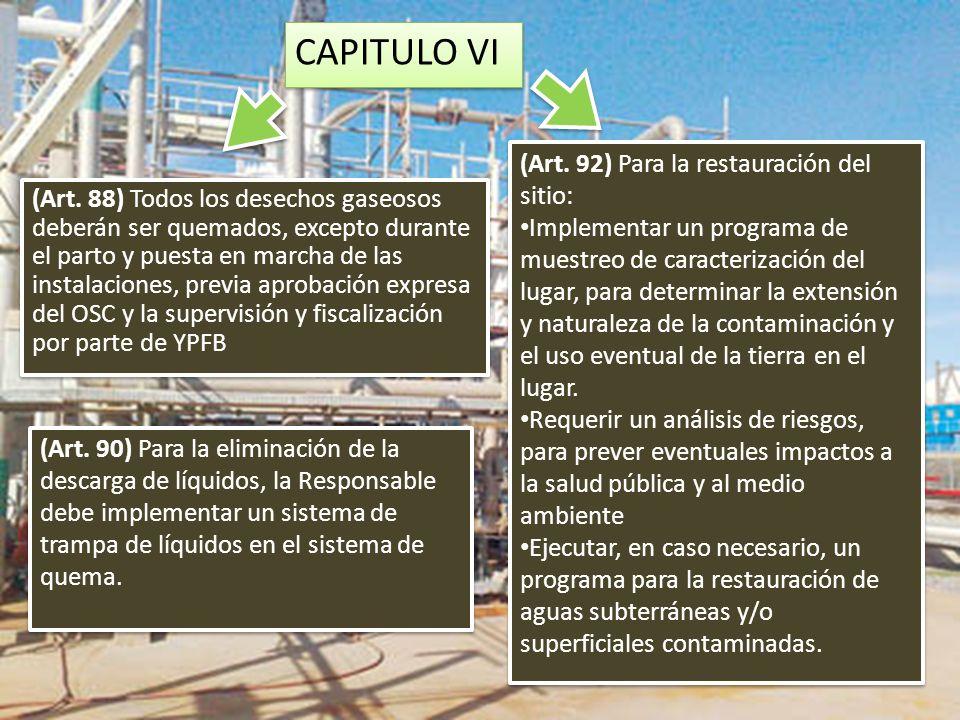 CAPITULO VI (Art. 92) Para la restauración del sitio: Implementar un programa de muestreo de caracterización del lugar, para determinar la extensión y