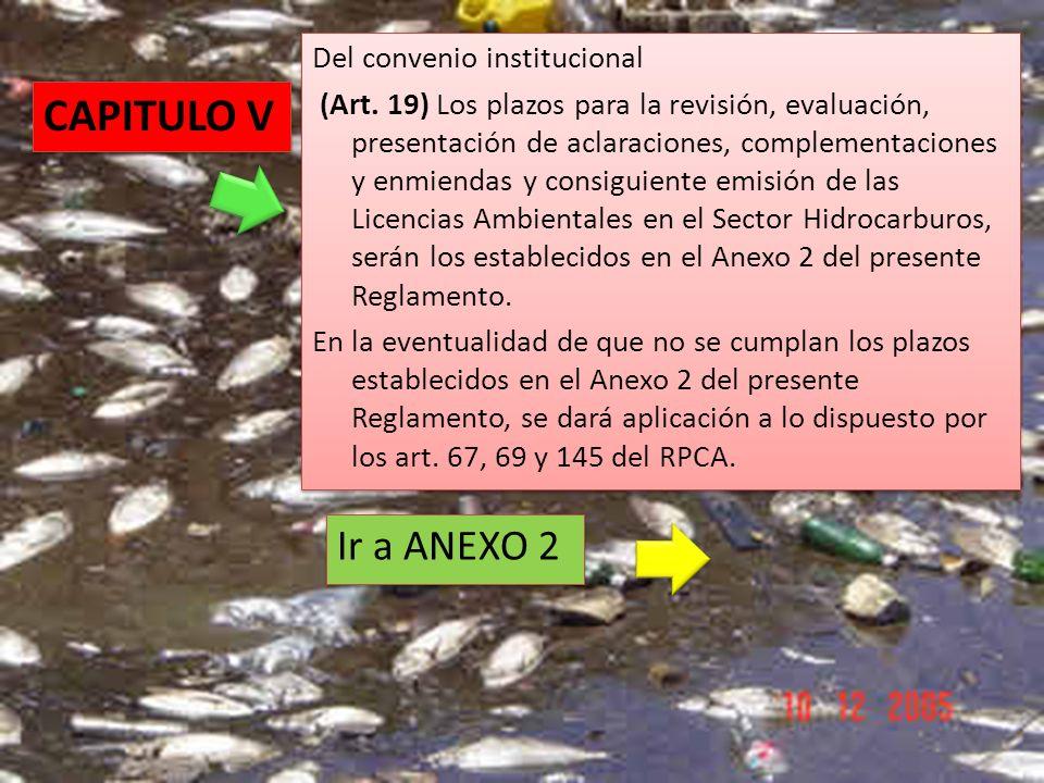Del convenio institucional (Art. 19) Los plazos para la revisión, evaluación, presentación de aclaraciones, complementaciones y enmiendas y consiguien