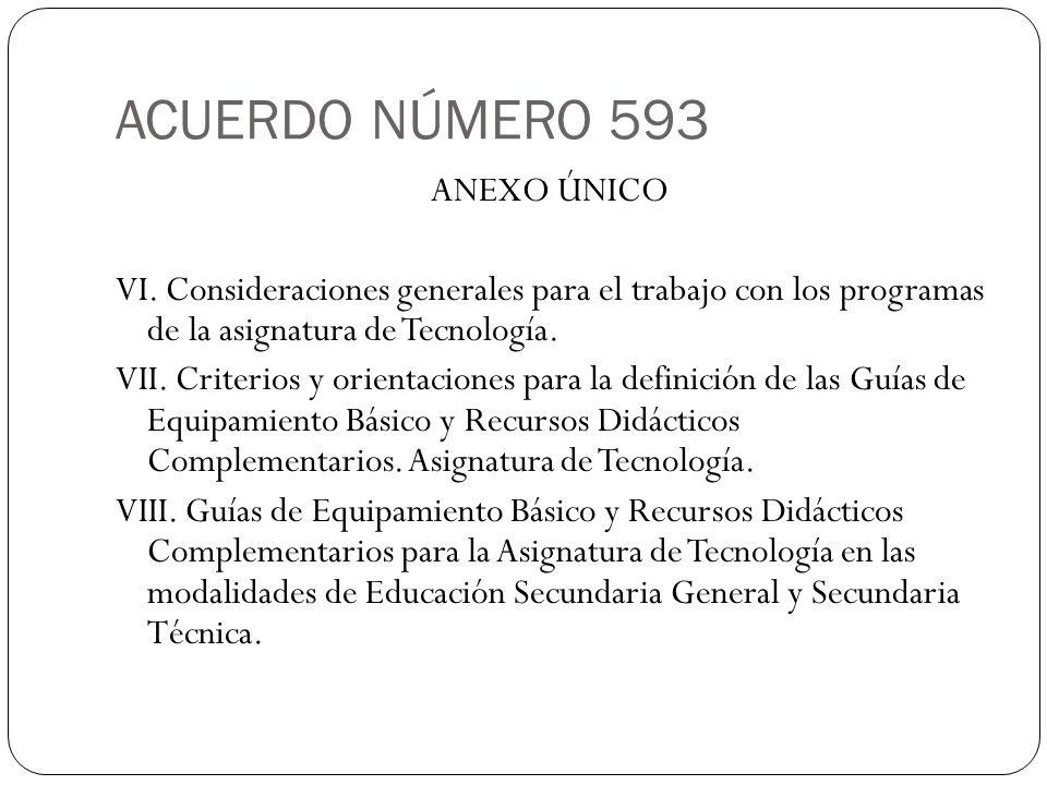 ACUERDO NÚMERO 593 ANEXO ÚNICO VI. Consideraciones generales para el trabajo con los programas de la asignatura de Tecnología. VII. Criterios y orient