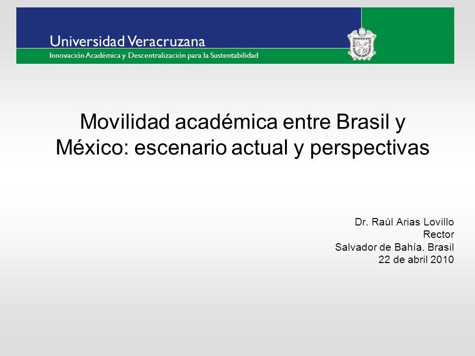___ ____ ____ _________ __ ______ __ _____ ___ ______ ______ _____ _____ _____ Haga clic para modificar el estilo de texto del patrón Segundo nivel Tercer nivel Cuarto nivel Quinto nivel Universidad Veracruzana Innovación Académica y Descentralización para la Sustentabilidad Movilidad académica entre Brasil y México: escenario actual y perspectivas Dr.