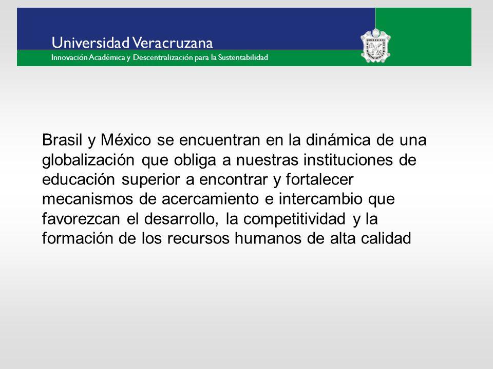 ___ ____ ____ _________ __ ______ __ _____ ___ ______ ______ _____ _____ _____ Haga clic para modificar el estilo de texto del patrón Segundo nivel Tercer nivel Cuarto nivel Quinto nivel Universidad Veracruzana Innovación Académica y Descentralización para la Sustentabilidad Brasil y México se encuentran en la dinámica de una globalización que obliga a nuestras instituciones de educación superior a encontrar y fortalecer mecanismos de acercamiento e intercambio que favorezcan el desarrollo, la competitividad y la formación de los recursos humanos de alta calidad
