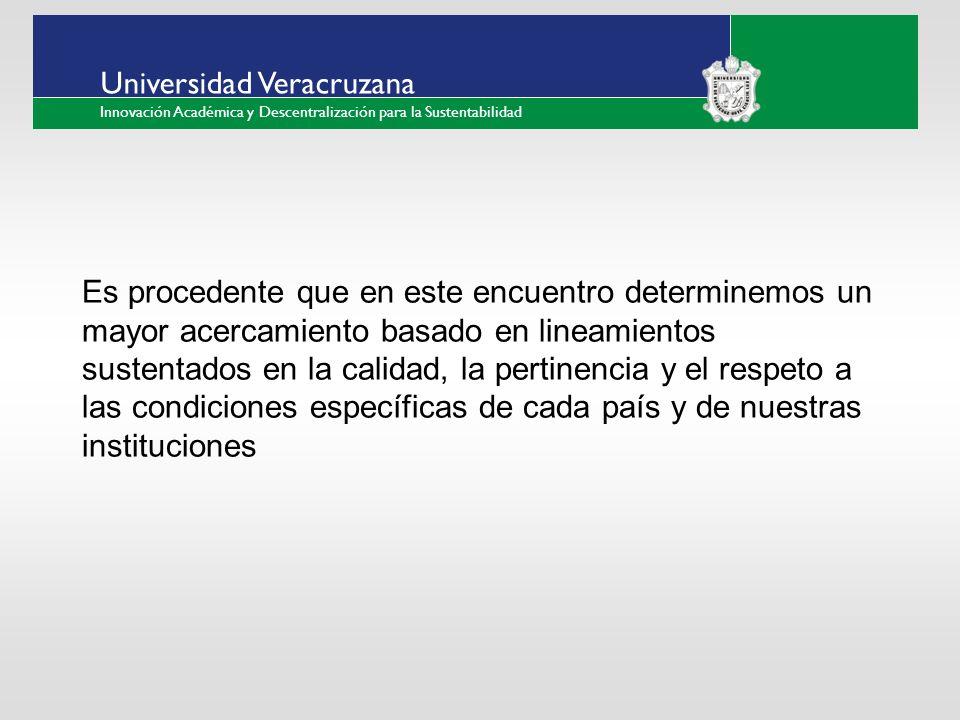 ___ ____ ____ _________ __ ______ __ _____ ___ ______ ______ _____ _____ _____ Haga clic para modificar el estilo de texto del patrón Segundo nivel Tercer nivel Cuarto nivel Quinto nivel Universidad Veracruzana Innovación Académica y Descentralización para la Sustentabilidad Es procedente que en este encuentro determinemos un mayor acercamiento basado en lineamientos sustentados en la calidad, la pertinencia y el respeto a las condiciones específicas de cada país y de nuestras instituciones