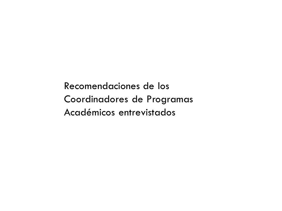 Recomendaciones de los Coordinadores de Programas Académicos entrevistados