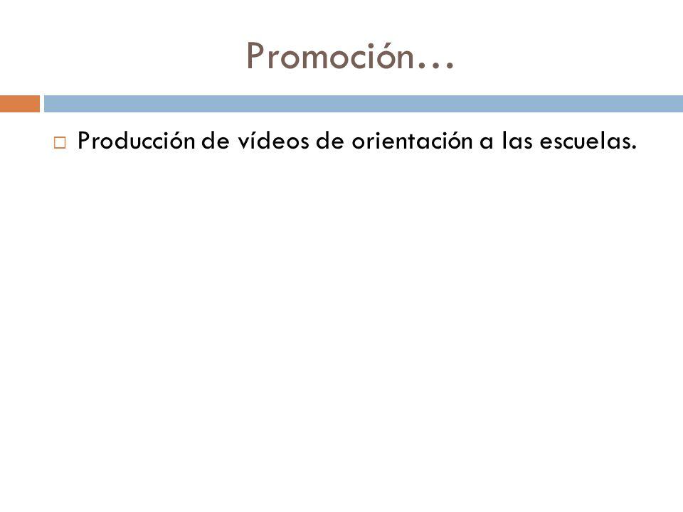 Promoción… Producción de vídeos de orientación a las escuelas.