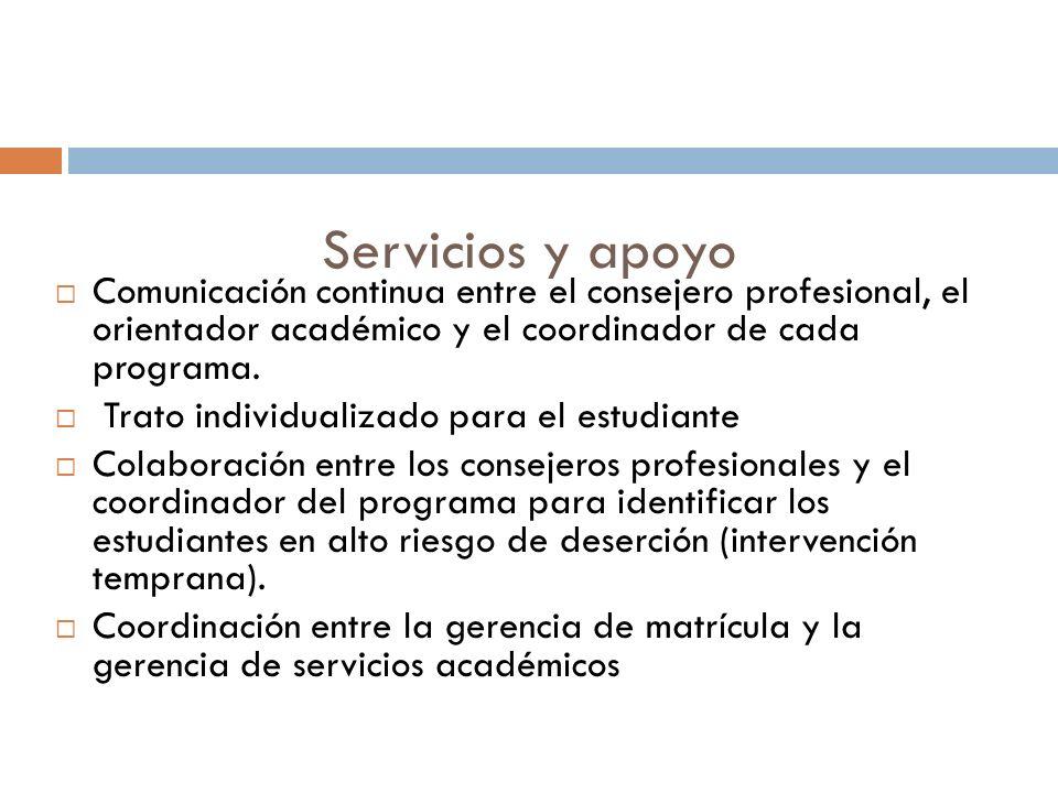 Servicios y apoyo Comunicación continua entre el consejero profesional, el orientador académico y el coordinador de cada programa.
