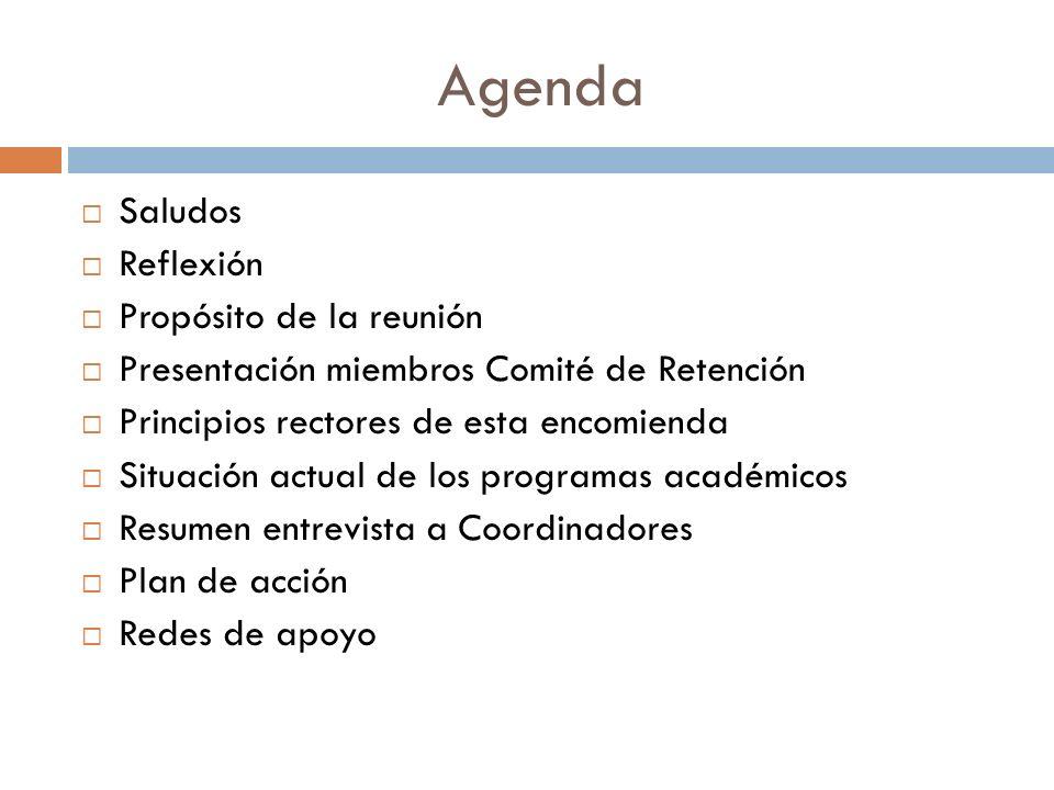 Agenda Saludos Reflexión Propósito de la reunión Presentación miembros Comité de Retención Principios rectores de esta encomienda Situación actual de los programas académicos Resumen entrevista a Coordinadores Plan de acción Redes de apoyo