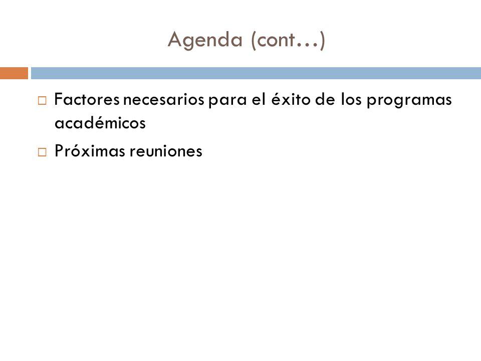 Agenda (cont…) Factores necesarios para el éxito de los programas académicos Próximas reuniones