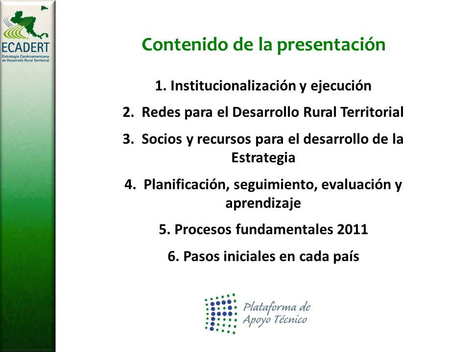 Contenido de la presentación 1. Institucionalización y ejecución 2.