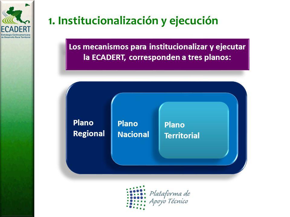 1. Institucionalización y ejecución Los mecanismos para institucionalizar y ejecutar la ECADERT, corresponden a tres planos: Plano Regional Plano Regi