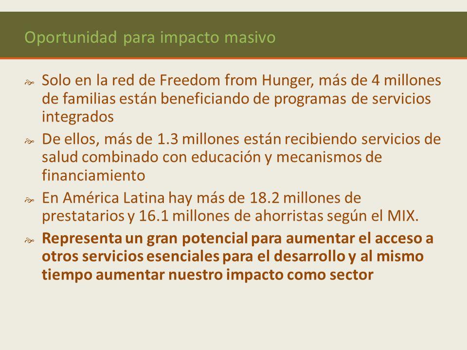 Oportunidad para impacto masivo Solo en la red de Freedom from Hunger, más de 4 millones de familias están beneficiando de programas de servicios integrados De ellos, más de 1.3 millones están recibiendo servicios de salud combinado con educación y mecanismos de financiamiento En América Latina hay más de 18.2 millones de prestatarios y 16.1 millones de ahorristas según el MIX.