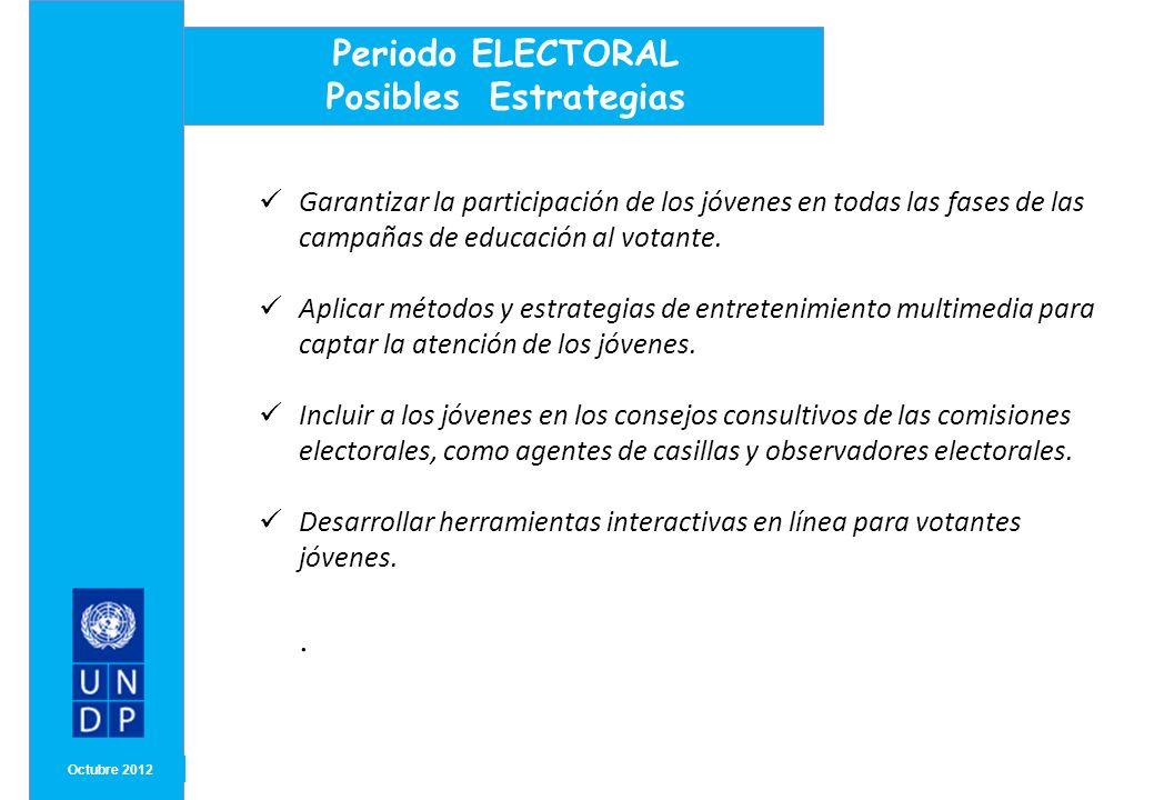 MONTH/ YEAR Octubre 2012 Periodo ELECTORAL Posibles Estrategias Garantizar la participación de los jóvenes en todas las fases de las campañas de educa