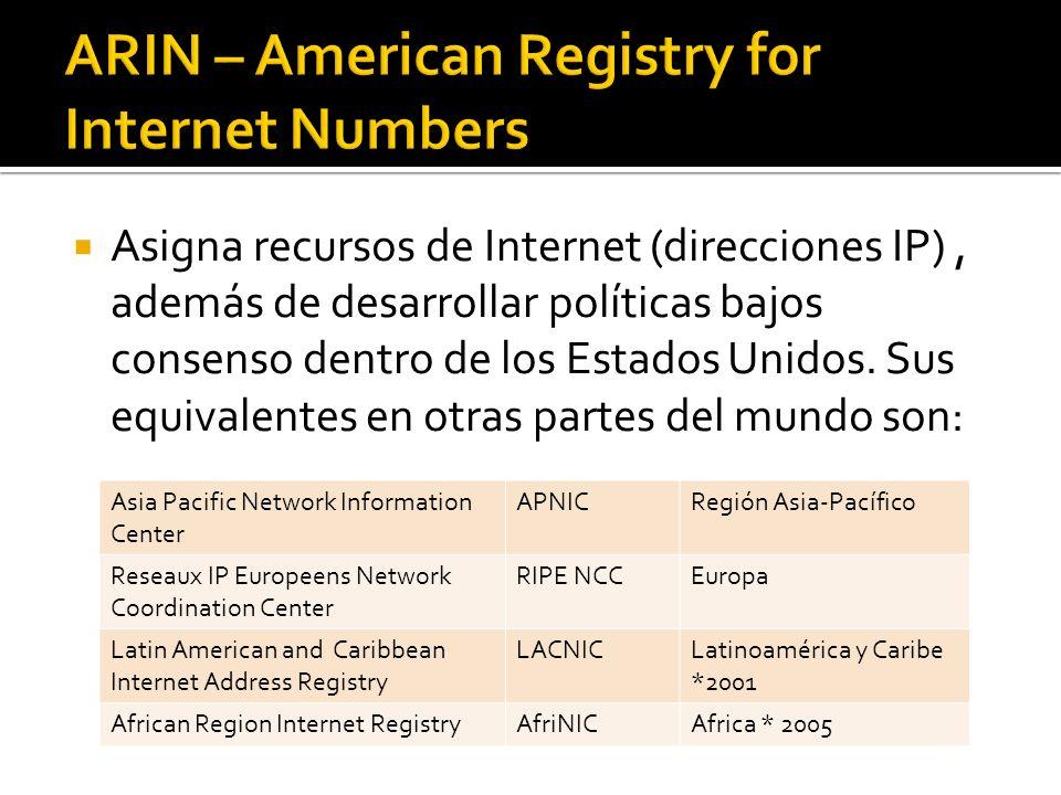 Asigna recursos de Internet (direcciones IP), además de desarrollar políticas bajos consenso dentro de los Estados Unidos. Sus equivalentes en otras p