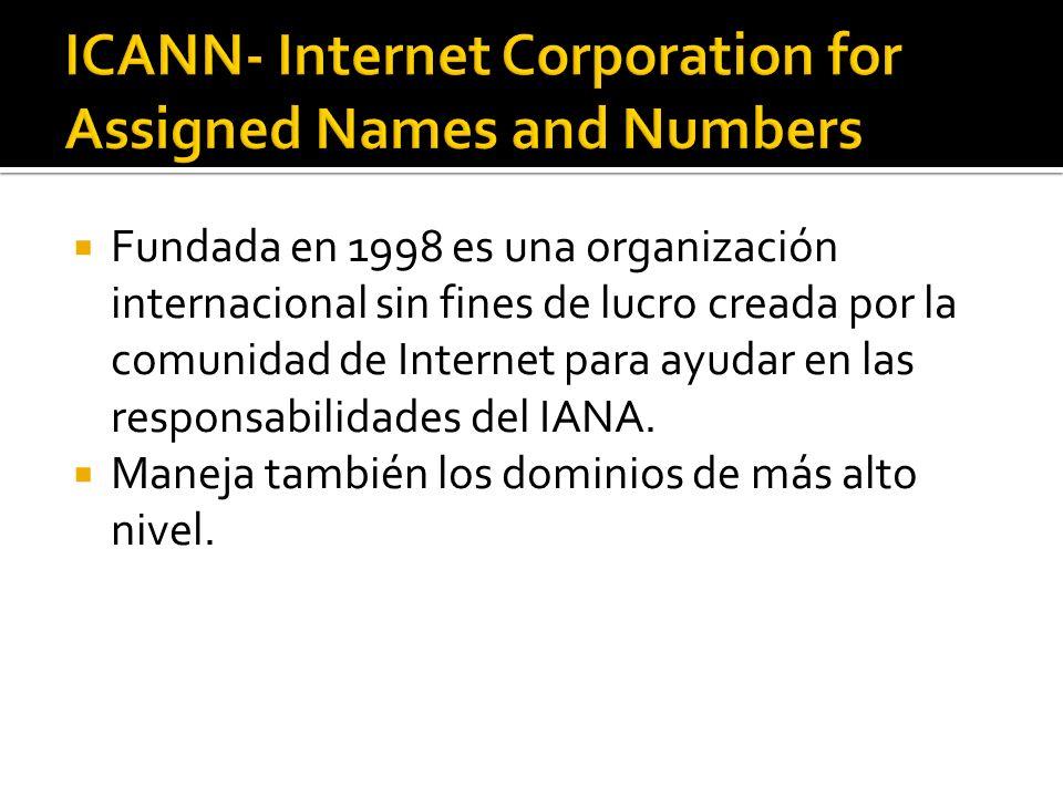 Fundada en 1998 es una organización internacional sin fines de lucro creada por la comunidad de Internet para ayudar en las responsabilidades del IANA