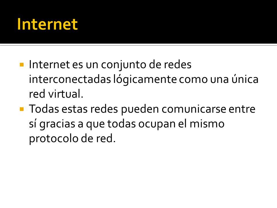 Internet es un conjunto de redes interconectadas lógicamente como una única red virtual. Todas estas redes pueden comunicarse entre sí gracias a que t