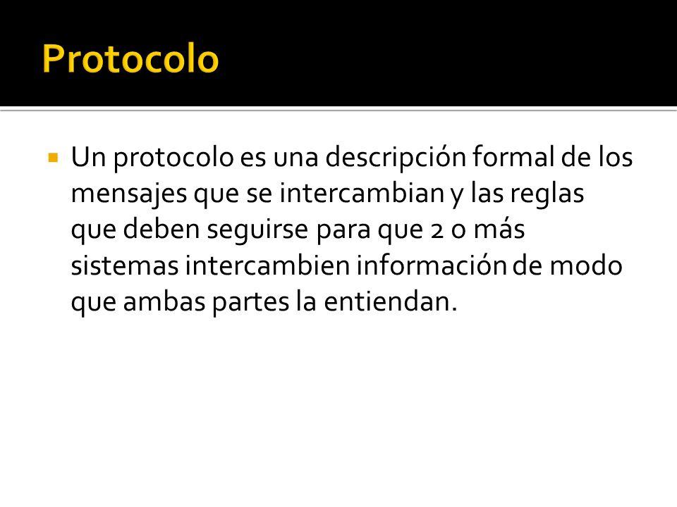 Un protocolo es una descripción formal de los mensajes que se intercambian y las reglas que deben seguirse para que 2 o más sistemas intercambien info