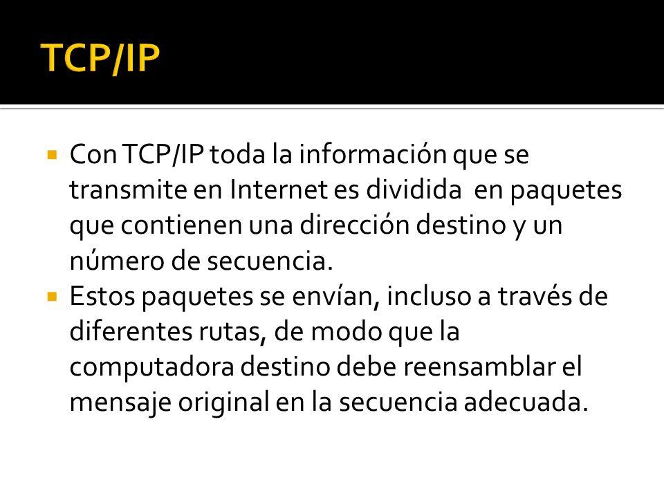Con TCP/IP toda la información que se transmite en Internet es dividida en paquetes que contienen una dirección destino y un número de secuencia. Esto