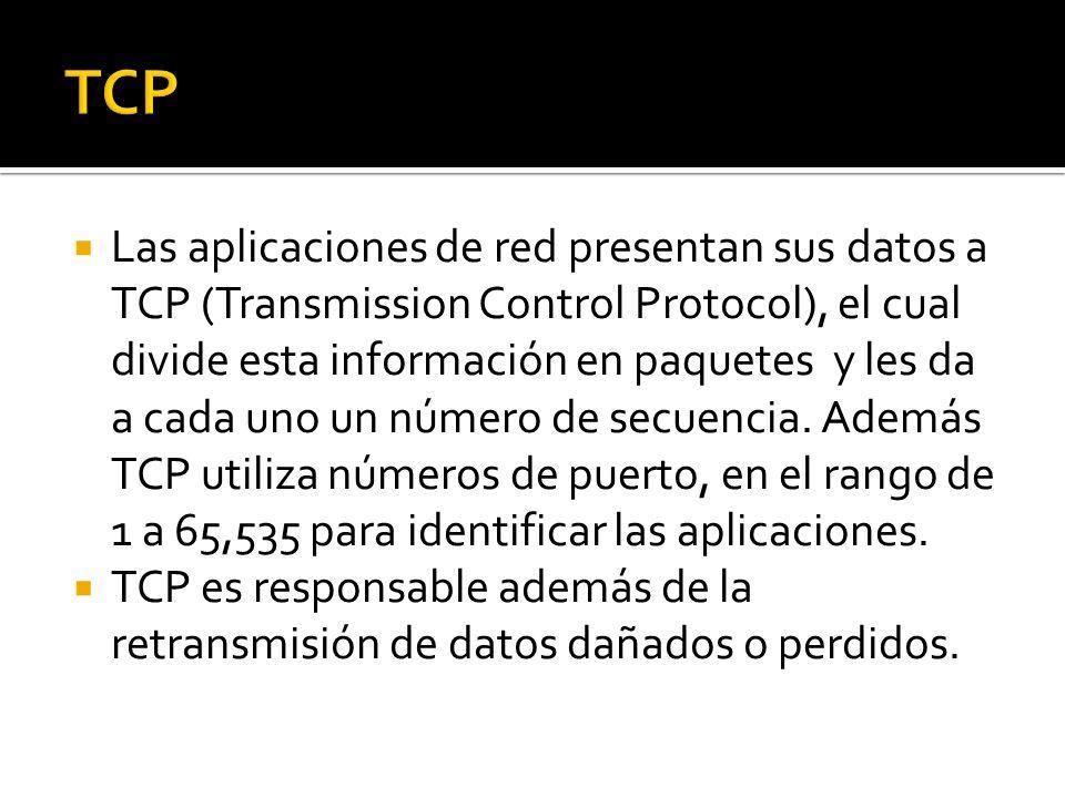 Las aplicaciones de red presentan sus datos a TCP (Transmission Control Protocol), el cual divide esta información en paquetes y les da a cada uno un