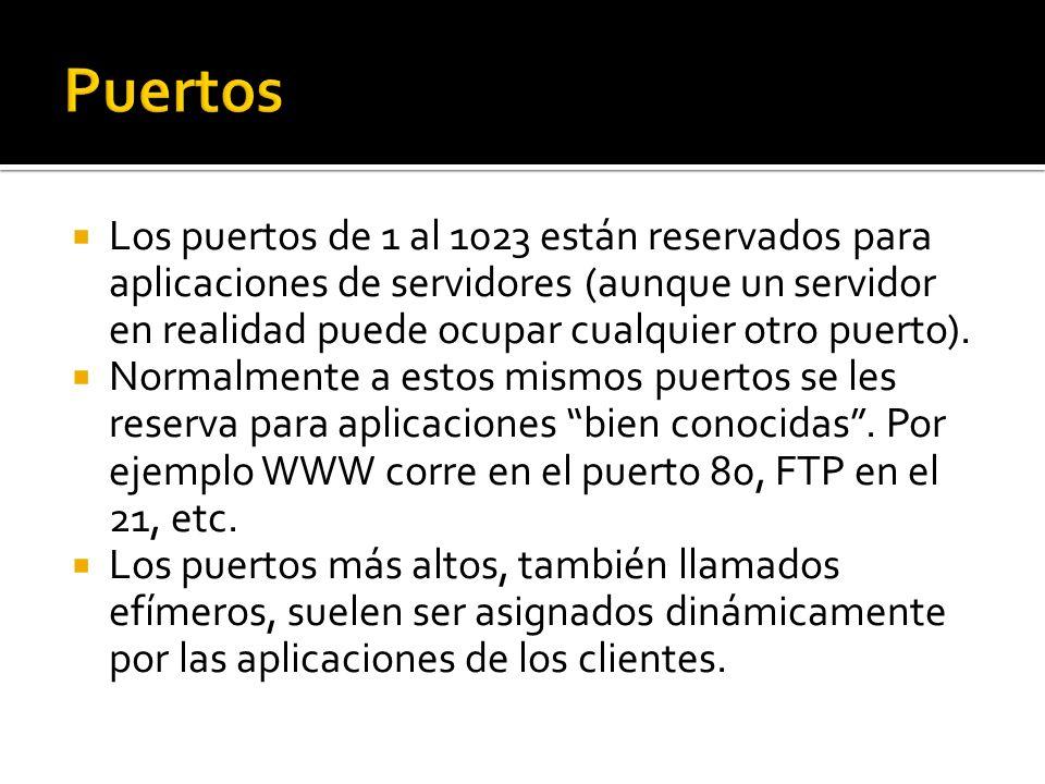 Los puertos de 1 al 1023 están reservados para aplicaciones de servidores (aunque un servidor en realidad puede ocupar cualquier otro puerto).