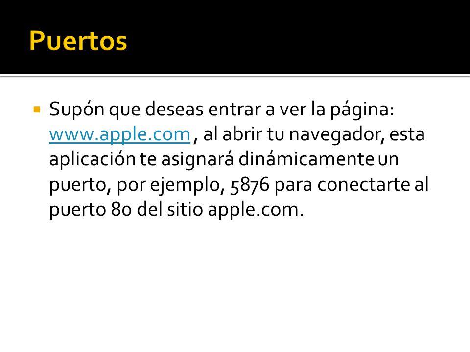 Supón que deseas entrar a ver la página: www.apple.com, al abrir tu navegador, esta aplicación te asignará dinámicamente un puerto, por ejemplo, 5876 para conectarte al puerto 80 del sitio apple.com.