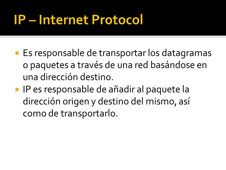 Es responsable de transportar los datagramas o paquetes a través de una red basándose en una dirección destino. IP es responsable de añadir al paquete