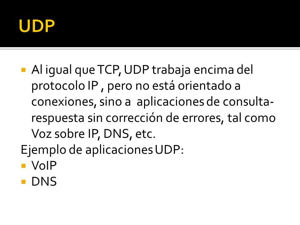 Al igual que TCP, UDP trabaja encima del protocolo IP, pero no está orientado a conexiones, sino a aplicaciones de consulta- respuesta sin corrección de errores, tal como Voz sobre IP, DNS, etc.