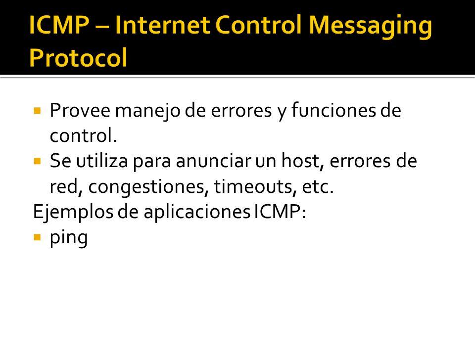 Provee manejo de errores y funciones de control. Se utiliza para anunciar un host, errores de red, congestiones, timeouts, etc. Ejemplos de aplicacion